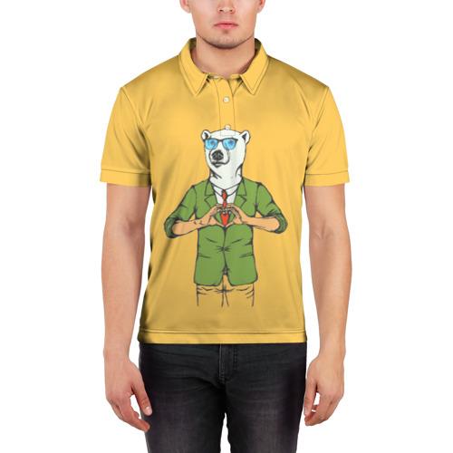 Мужская рубашка поло 3D  Фото 03, Медведь Хипстер Love
