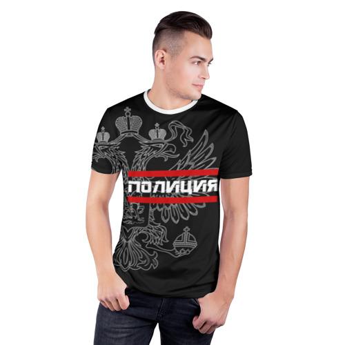 Мужская футболка 3D спортивная  Фото 03, Полиция белый герб РФ