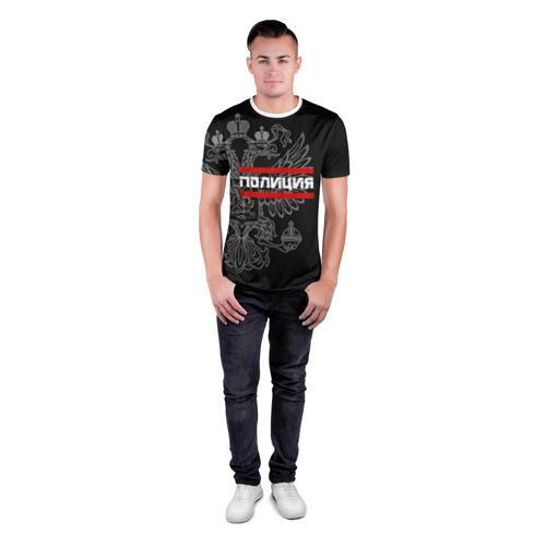 Мужская футболка 3D спортивная  Фото 04, Полиция белый герб РФ