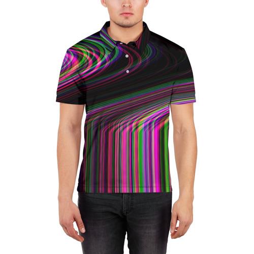 Мужская рубашка поло 3D  Фото 03, Неоновый свет