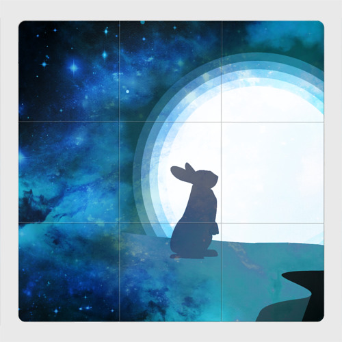 Магнитный плакат 3Х3 Влюбленный зайчик