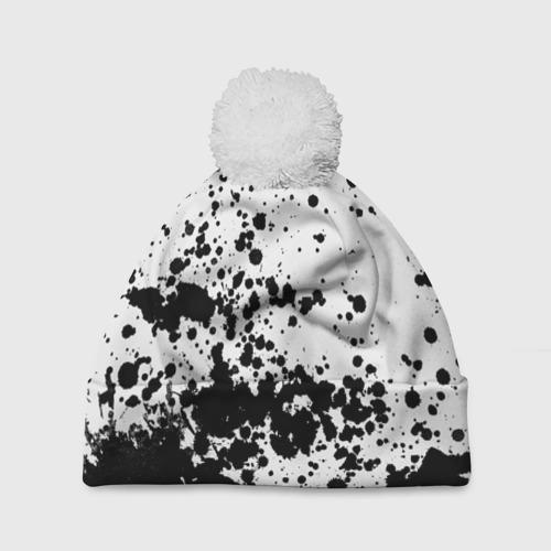 Шапка 3D c помпоном  Фото 01, Черно-белые капли