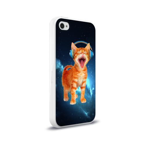 Чехол для Apple iPhone 4/4S силиконовый глянцевый  Фото 02, Котёнок в наушниках