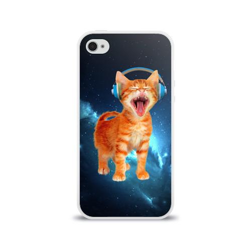 Чехол для Apple iPhone 4/4S силиконовый глянцевый  Фото 01, Котёнок в наушниках