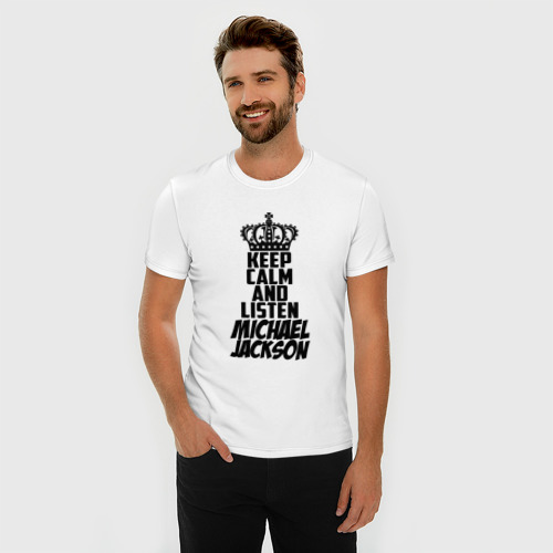 Мужская футболка премиум  Фото 03, Keep calm and listen Michael Jackson