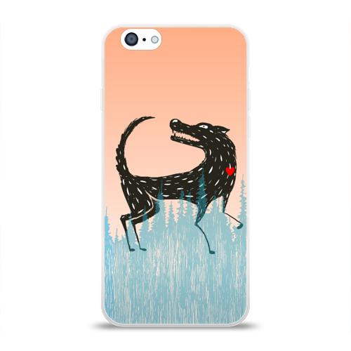 Чехол для Apple iPhone 6 силиконовый глянцевый  Фото 01, Волк