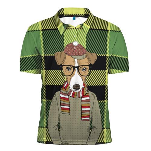 Мужская рубашка поло 3D  Фото 01, Собака Хипстер