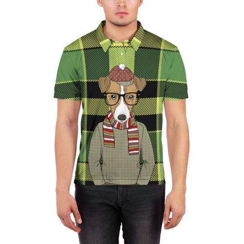 Мужская рубашка поло 3D  Фото 03, Собака Хипстер