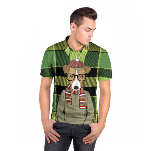 Мужская рубашка поло 3D  Фото 05, Собака Хипстер