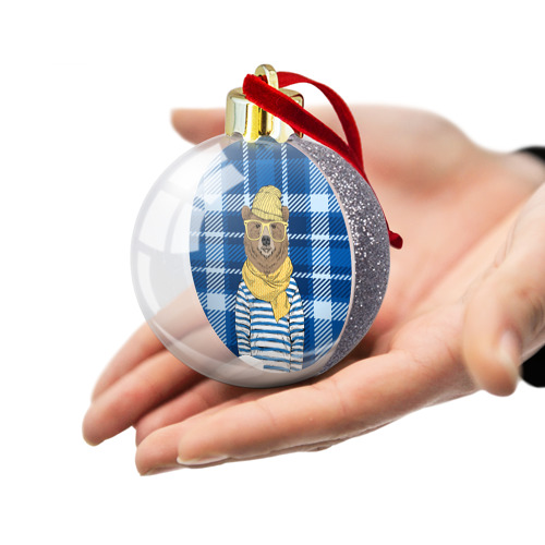 Ёлочный шар с блестками  Фото 03, Медведь Хипстер