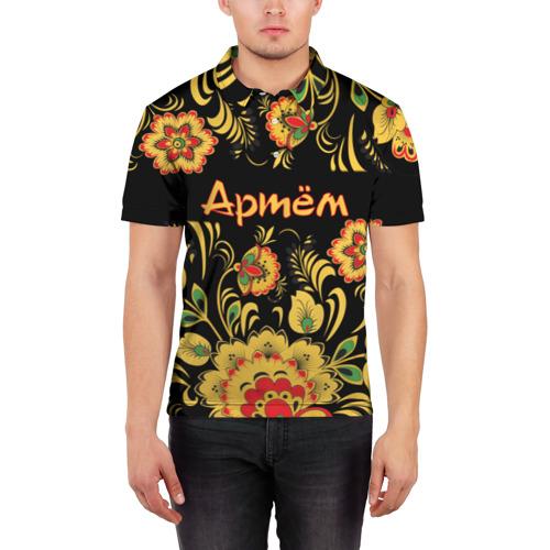 Мужская рубашка поло 3D  Фото 03, Артём, роспись под хохлому
