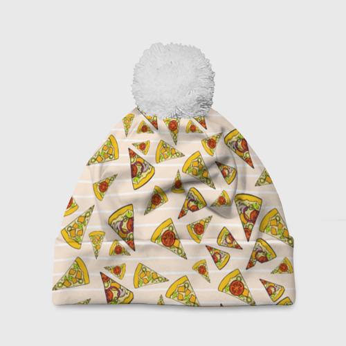 Шапка 3D c помпоном Pizza love