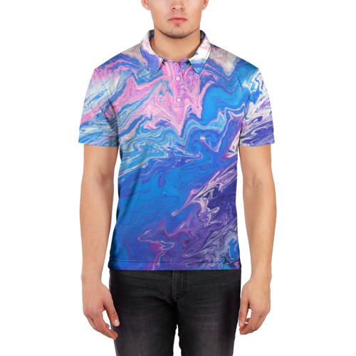 Мужская рубашка поло 3D  Фото 03, Жидкие краски