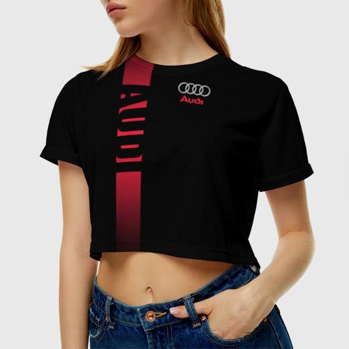Женская футболка 3D укороченная  Фото 01, AUDI SPORT