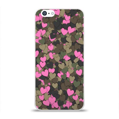 Чехол для Apple iPhone 6 силиконовый глянцевый  Фото 01, Какмуфляж с сердечками