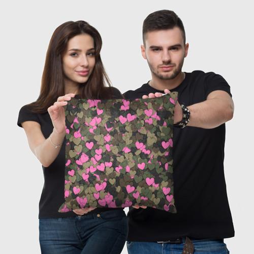 Подушка 3D  Фото 03, Какмуфляж с сердечками
