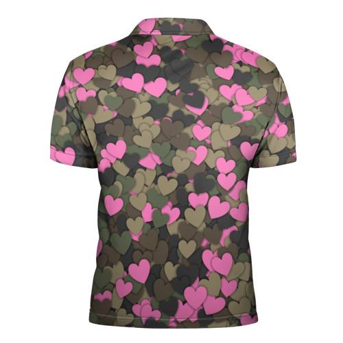 Мужская рубашка поло 3D  Фото 02, Какмуфляж с сердечками