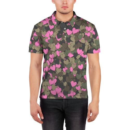 Мужская рубашка поло 3D  Фото 03, Какмуфляж с сердечками