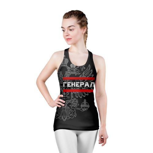 Женская майка 3D спортивная  Фото 03, Генерал, белый герб РФ