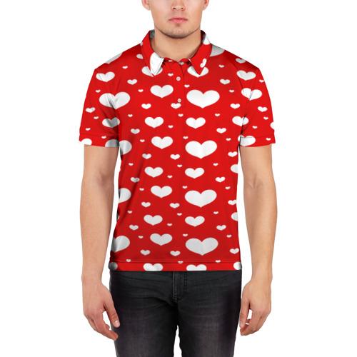 Мужская рубашка поло 3D  Фото 03, heart pattern