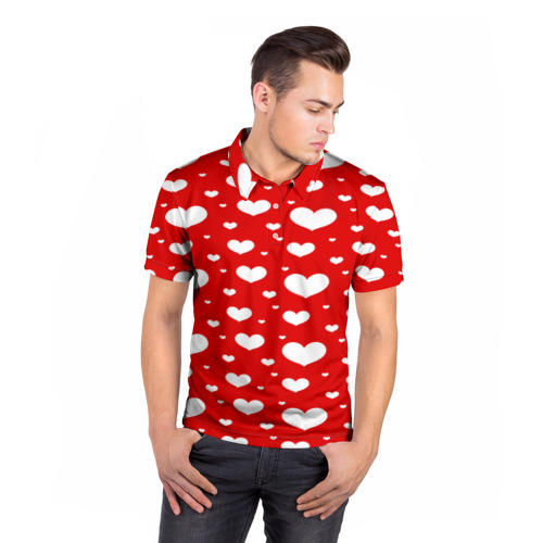 Мужская рубашка поло 3D  Фото 05, heart pattern