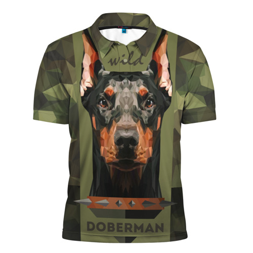 Мужская рубашка поло 3D  Фото 01, Дикий доберман