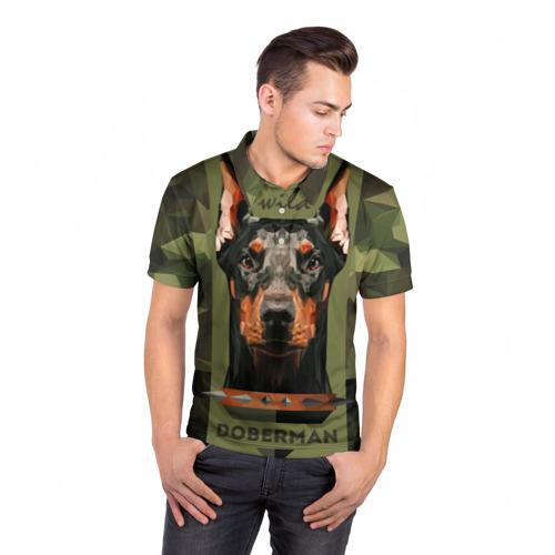Мужская рубашка поло 3D  Фото 05, Дикий доберман
