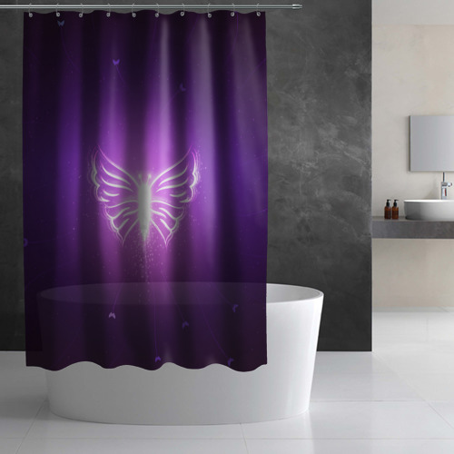 Штора 3D для ванной  Фото 02, Бабочка