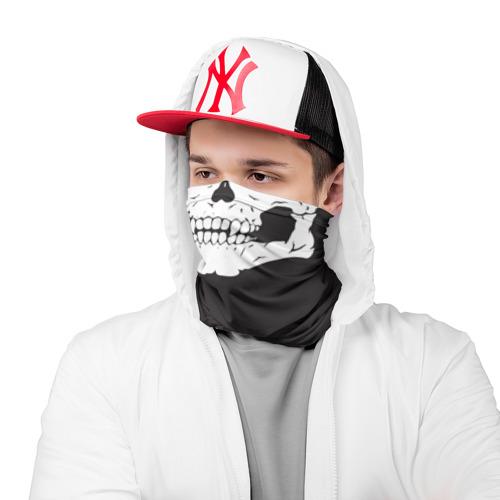Бандана-труба 3D  Фото 03, Череп маска черная