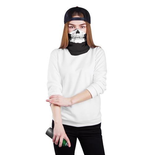 Бандана-труба 3D  Фото 02, Череп маска черная