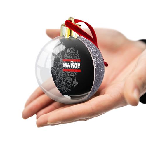 Ёлочный шар с блестками  Фото 03, Майор, белый герб РФ