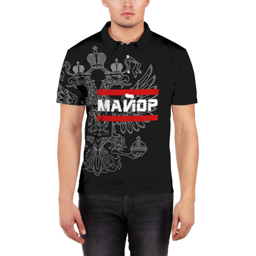Мужская рубашка поло 3D  Фото 03, Майор, белый герб РФ