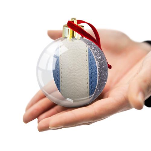 Ёлочный шар с блестками  Фото 03, Blue and White
