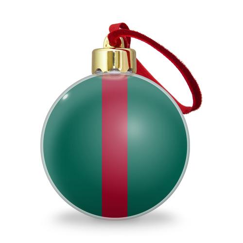 Ёлочный шар с блестками  Фото 01, Зеленый/бордовый