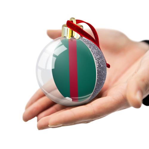 Ёлочный шар с блестками  Фото 03, Зеленый/бордовый