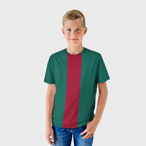 Детская футболка 3D Зеленый/бордовый