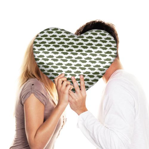 Подушка 3D сердце  Фото 03, Камуфляж танки-2