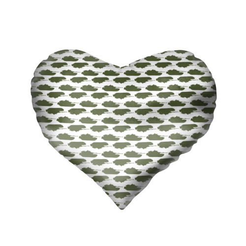 Подушка 3D сердце  Фото 02, Камуфляж танки-2