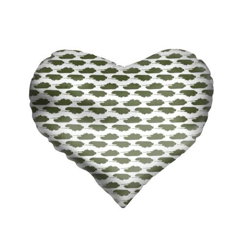 Подушка 3D сердце  Фото 01, Камуфляж танки-2