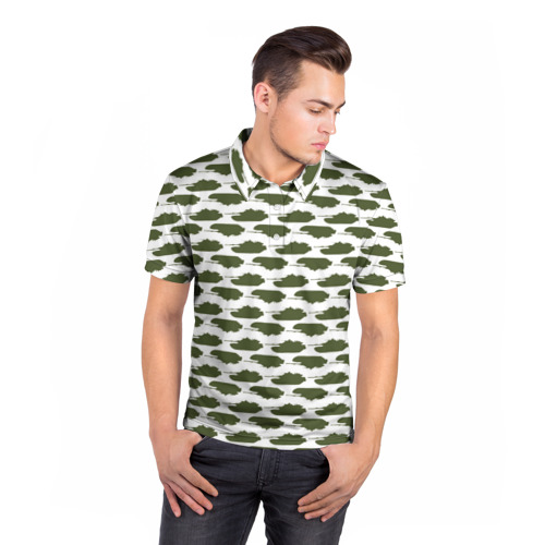 Мужская рубашка поло 3D  Фото 05, Камуфляж танки-2