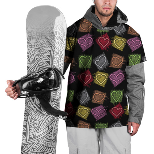 Накидка на куртку 3D  Фото 01, Разноцветные сердечки