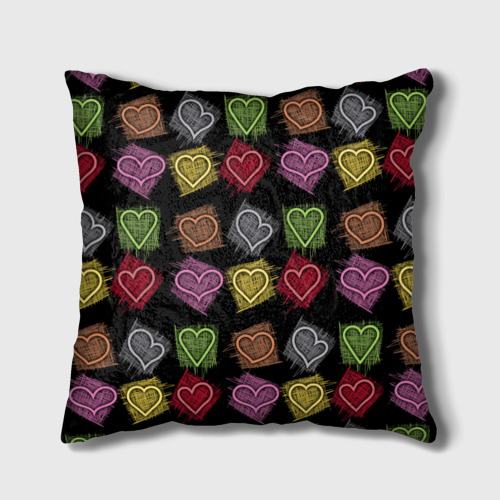 Подушка 3D  Фото 02, Разноцветные сердечки