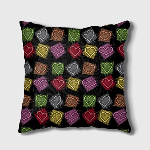 Подушка 3D  Фото 01, Разноцветные сердечки