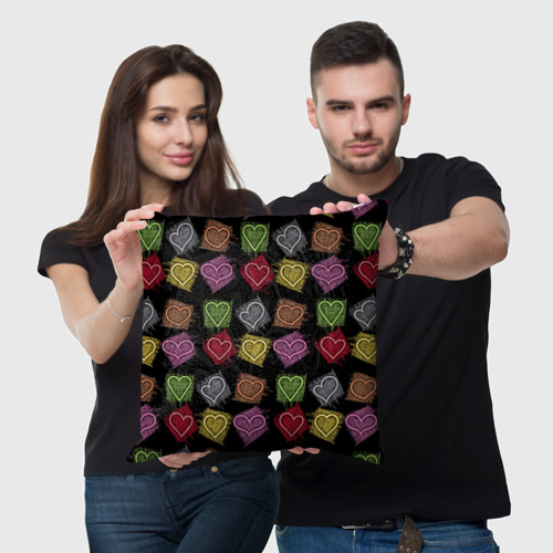 Подушка 3D  Фото 05, Разноцветные сердечки
