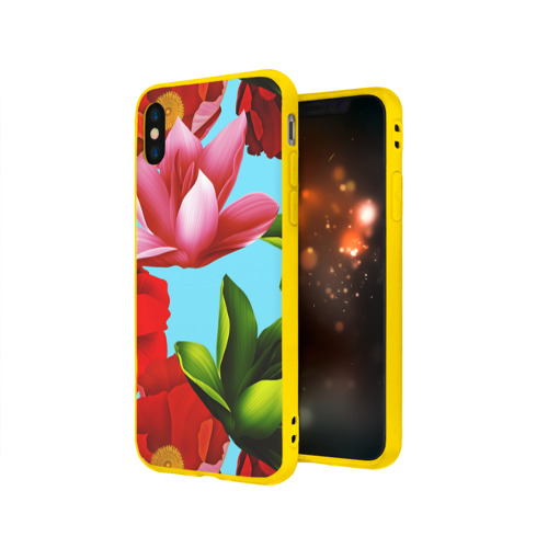 Чехол для Apple iPhone X силиконовый матовый цветочный принт Фото 01