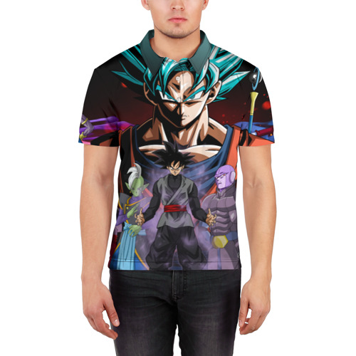 Мужская рубашка поло 3D  Фото 03, Темный Гоку