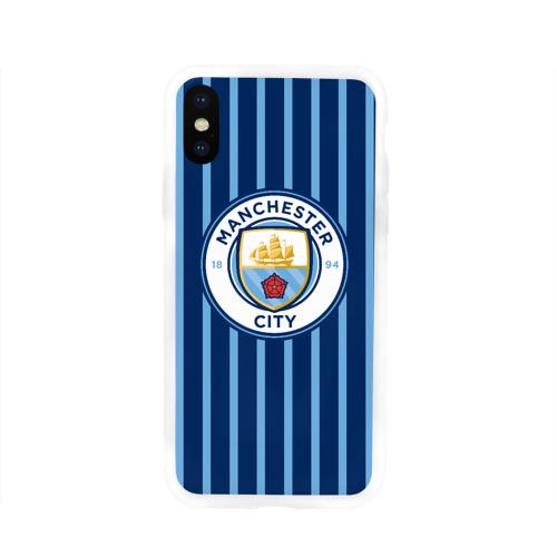 Чехол для Apple iPhone X силиконовый глянцевый Manchester City
