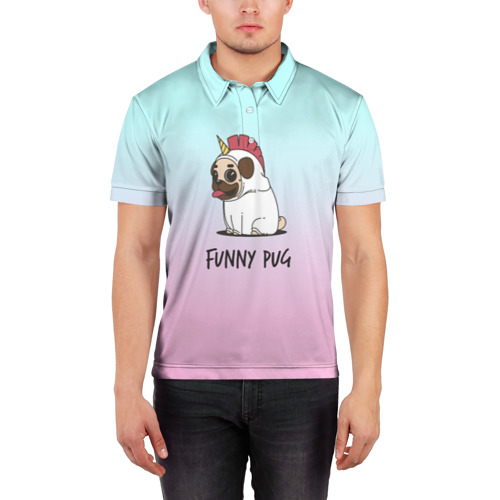 Мужская рубашка поло 3D  Фото 03, Funny PUG