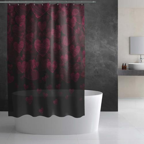 Штора 3D для ванной  Фото 03, Вишневые сердечки