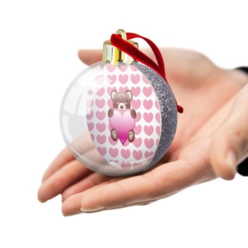 Ёлочный шар с блестками  Фото 03, Плюшевый Мишка